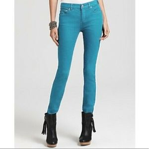 Free People Cropped Turquoise / Blue Jeans